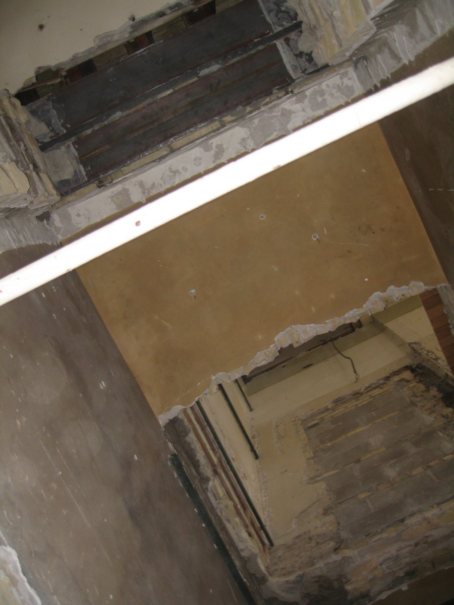 Looking up the shaft where the safes were located