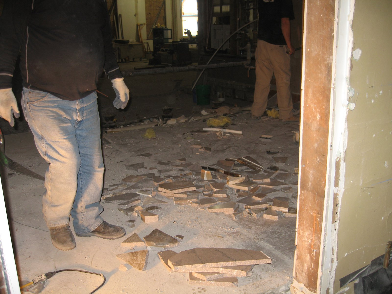 Marble floor being removed