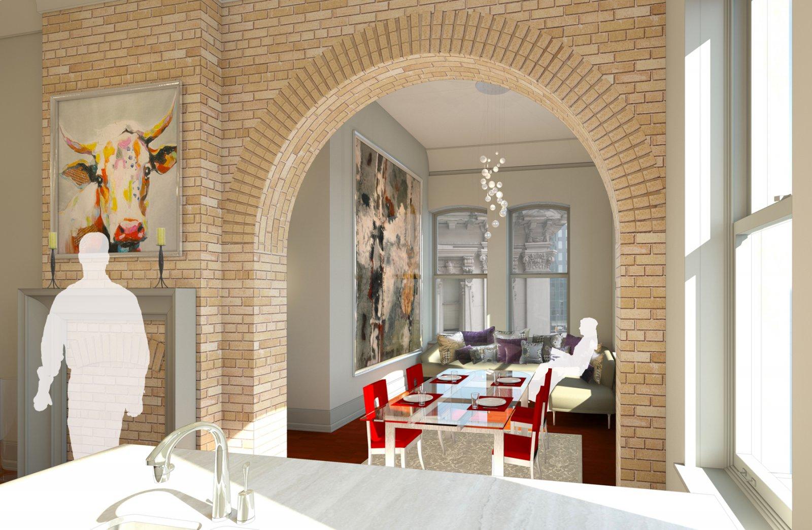 Mackie Building Looking Towards the Living Room Rendering