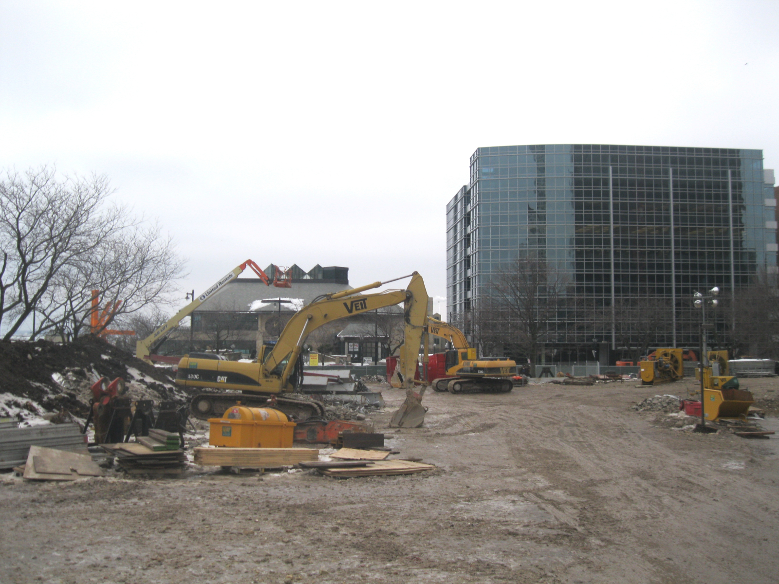 The land is being cleared in preparation for construction.