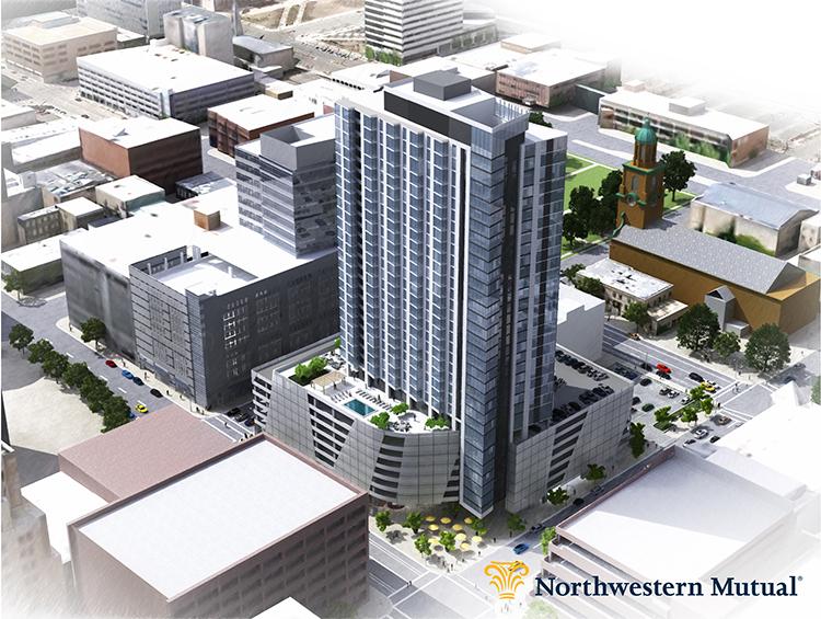 Northwestern Mutual residential - Above looking northwest