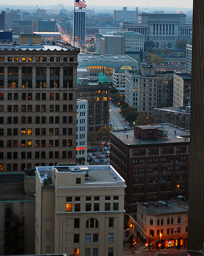A view looking west from the Pfister Hotel rooftop.