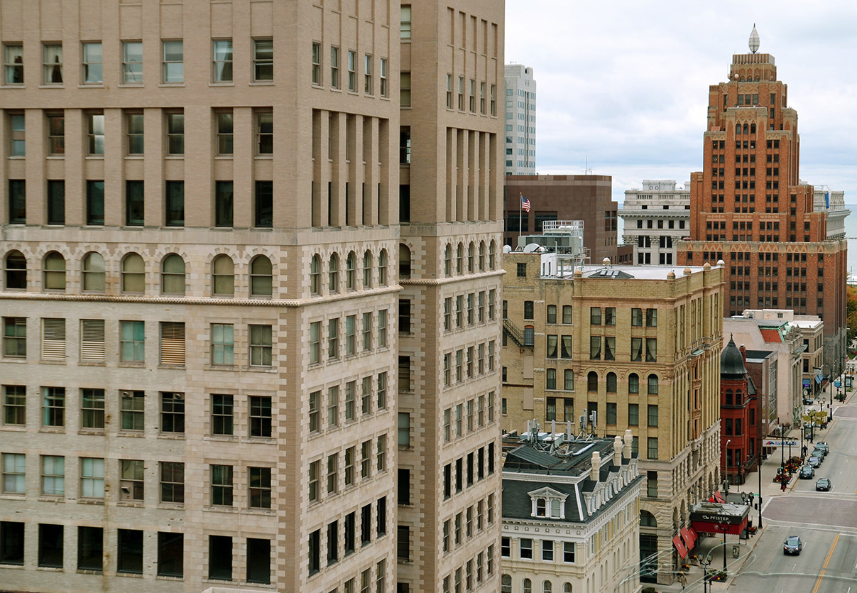 The Wells Building as seen from the roof of the Railway Exchange Building.