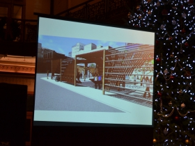 Bestul's winning proposal will use wood to construct structures framing and engaging the plaza between 3rd and 4th Street.