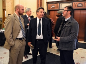 Aldemen Kovac and Murphy chat with Election Commisssioner Neil Albrecht.