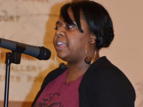 Priscilla Coggs-Jones performs her own political piece.