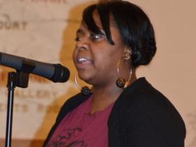 Priscilla Coggs-Jones performs her own political piece.