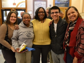 Rosaura Perez, Youth Council Member Diamond Lewis, Deborah Moore, Youth Council Member Cesar Hernandez, and Arlisia McHenry.