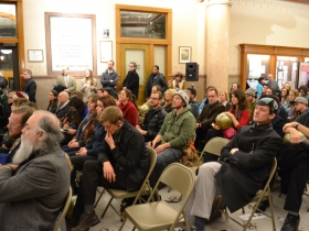 The audience included many Milwaukee artists, innovators and city employees.