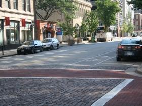 Bike lane on Mason St. Photo by Dave Reid.