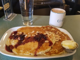 Café at the Plaza Lemon Poppyseed Pancakes with Blueberry Syrup