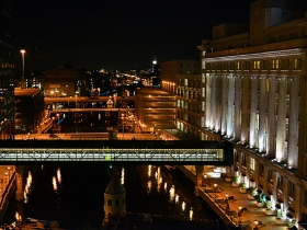 A nighttime view of the river.