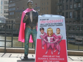 The Bronze Fonz sports a pink cape for a good cause, the Susan G. Komaen Race for the Cure.