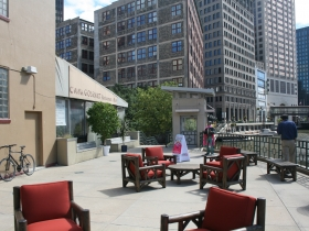 New outdoor furniture on the Riverwalk by Mario Costantini.