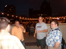 Jeramey Jannene, Jeremy Fojut, Dave Reid, and Brian Jacobson at the Urban Milwaukee Anniversary Party.