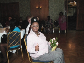 Rep. Gwen Moore gives the thumbs up to Urban Milwaukee at her birthday celebration, Sunday, May 5th, 2013 at the Milwaukee Athletic Club