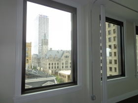 The Federal Courthouse and US Bank can be seen from this window.