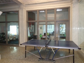 Ping pong table located outside of Sosh.