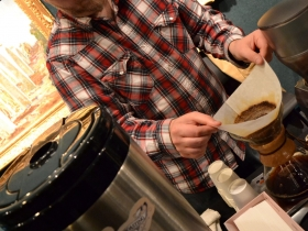 Steve patiently brews a delicious cup of Anodyne coffee