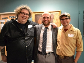 WMSE station manager, Tom Crawford, Alderman Nik Kovac, and WMSE Development Director, Justin Shoman can feel a food coma coming on