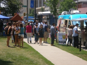 Food trucks in Cathedral Square.