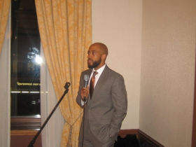 Rep. Mandela Barnes gives a welcome address at his birthday party held at the Milwaukee Athletic Club.