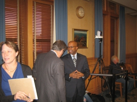 Ald. Murphy chats with Common Council President Hines.