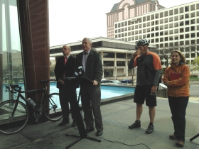 Mayor Barrett thanks the crowd for joining him on his bike ride.