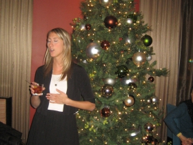 Grace Fuhr speaks to the crowd at her farewell party from Historic Milwaukee, Inc. Friday, January 3rd, 2013.