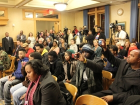 Crowd at Fire and Police Commission Hearing. Photo by Mark Doremus.