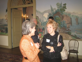 Mount Mary University President Dr. Eileen Schwalbach (r) talks with an attendee at the Greater Milwaukee Committee meeting about Downtown Development at the University Club. [Photograph taken Monday, January 13th, 2014 by Michael Horne.]