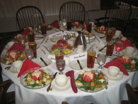 The head table is set for its distinguished guests. [Photograph taken Monday, January 13th, 2014 by Michael Horne.]