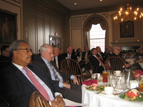 John Daniels (l) seated next to Mayor Tom Barrett, listen to a presentation at the University Club. [Photograph taken Monday, January 13th, 2014 by Michael Horne.]