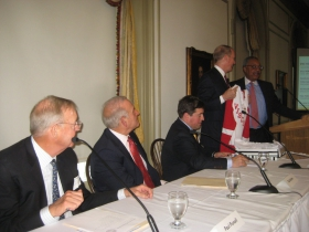 Baird CEO Paul Purcell, left, looks on with Ted Kellner, Peter Feigin, Bill Downe and John Daniels.