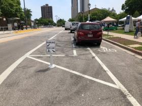 Parking on Bike Sign