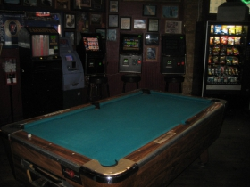 Pool table inside Dukes / Scooters