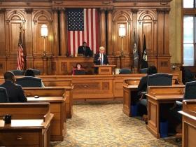 Tony Evers at City Hall