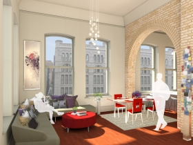 Mackie Building Living Room Rendering