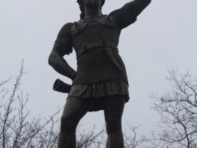 Leif Erikson peers down E. State Street