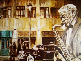 Mural by Brooklyn Henke of Berkeley Fudge playing sax in front of Hotel Metro