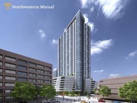 Northwestern Mutual residential - Mason and Van Buren looking northwest
