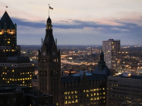 Milwaukee City Hall, viewed from atop the Pfister Hotel.