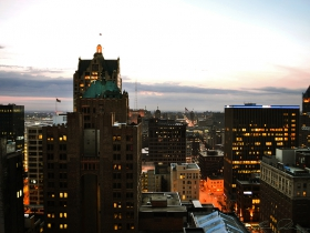 A view of Milwaukee from atop the Pfister Hotel.