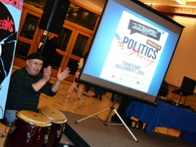 Conga player Cecil Negron energized the atrium