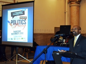 Alderman Willie Hines welcomes Poetry and Politics to City Hall