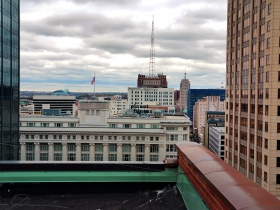 The Hilton City Center as seen from the roof of the Railway Exchange Building.
