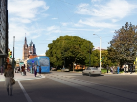 A rendering of the Milwaukee Streetcar near Cathedral Square.