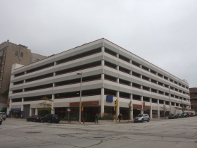 The parking structure on the northwest corner of Wells and Broadway where the anarchists bomb exploded