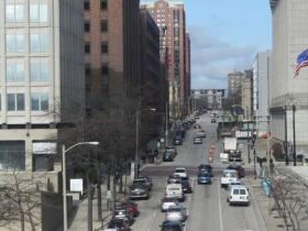 Van Buren Street looking north from Michigan Street