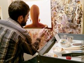 Todd Mrozinski working in the Pfister studio